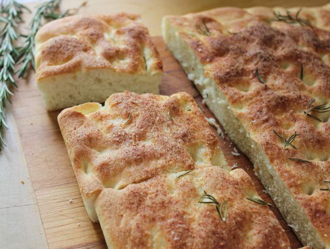 Homemade Focaccia Bread with Fresh Rosemary
