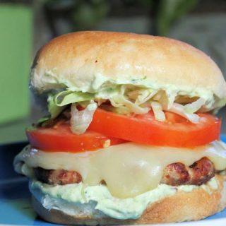 Turkey- Pepperoni Burgers with Pesto Mayo