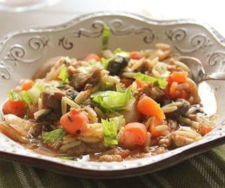 Slow Cooker Sausage, Mushroom and Orzo Soup