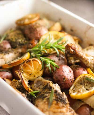 Roasted Lemon Chicken with Potatoes and Rosemary