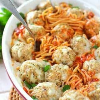 Baked Spaghetti with Chicken Parmesan Meatballs
