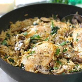 Creamy One Skillet Chicken with Mushrooms and Orzo