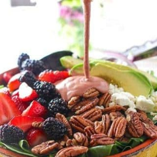 Spinach, Berry and Pecan Salad with Strawberry Balsamic Vinaigrette