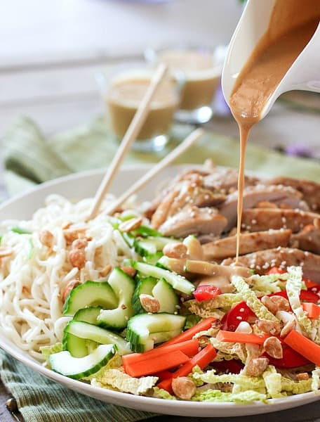 Thai Chicken and Noodle Salad with Creamy Peanut Dressing