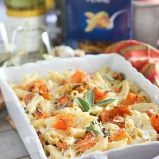 Roasted Butternut Squash with Penne and Garlic Cream Sauce