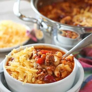 One Pot Chili Mac and Cheese Soup