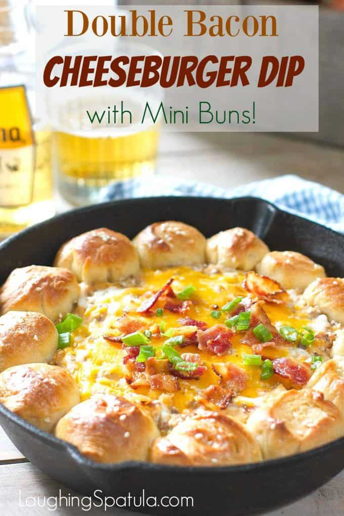 Double Bacon Cheeseburger Dip with Mini Buns
