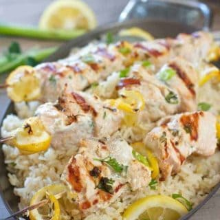Greek Salmon Kabobs with Oven Baked Lemon Rice