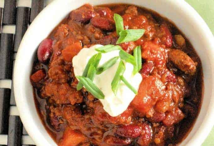 A bowl of slow cooker chili