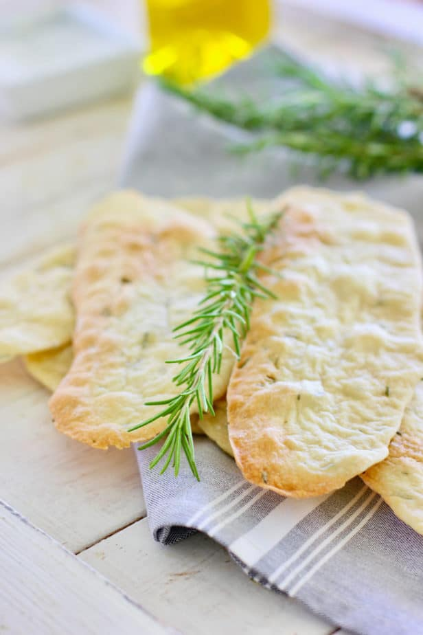 Rosemary Crackers with a rosemary sprig