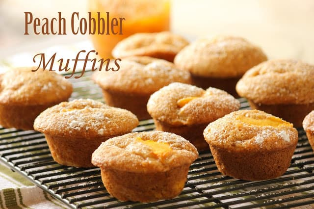 Peach Cobbler Muffins warm from the oven