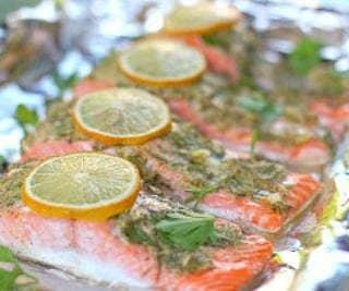 Garlic, Dijon and Fresh Herb Salmon