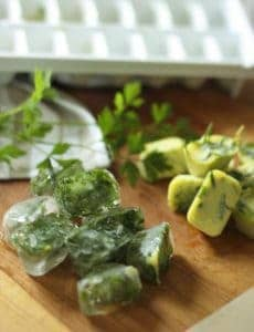 Frozen herbs in water and olive oil