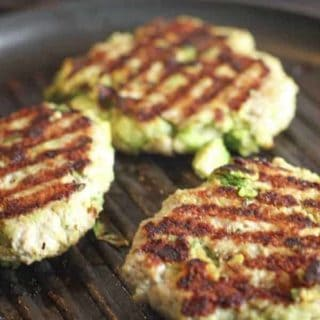 grilled burgers on black pan