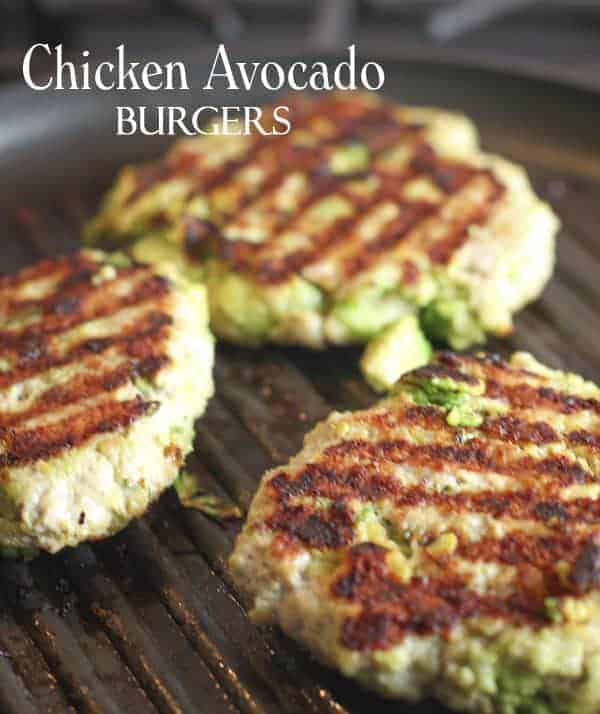 Chicken and Avocado Burgers sizzling in skillet