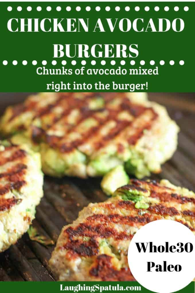 Chicken and Avocado Burger on grill pan