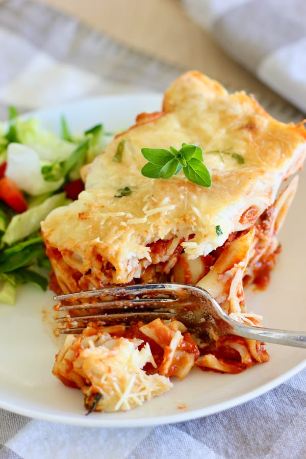served up Baked Ziti with a fork