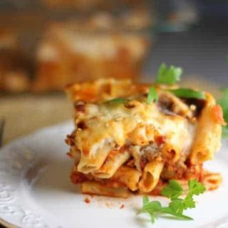 Baked Ziti with Sausage and Bechamel