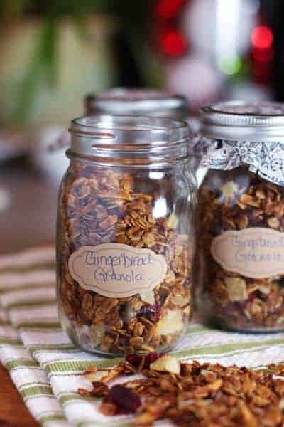 Gingerbread Granola in mason jar