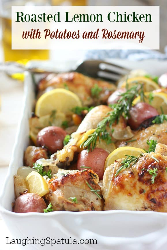 Easy Oven Roasted Lemon Chicken and Potatoes! - A one pan chicken and potatoes dinner your whole family will love!     #easychickenrecipe #whole30 #healthydinner