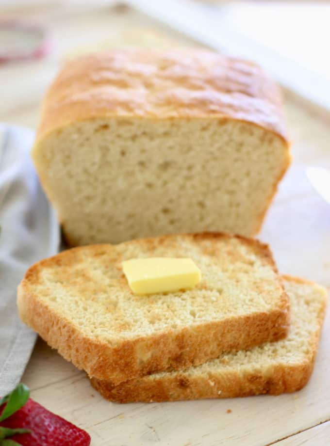 butter on fresh baked English muffin bread