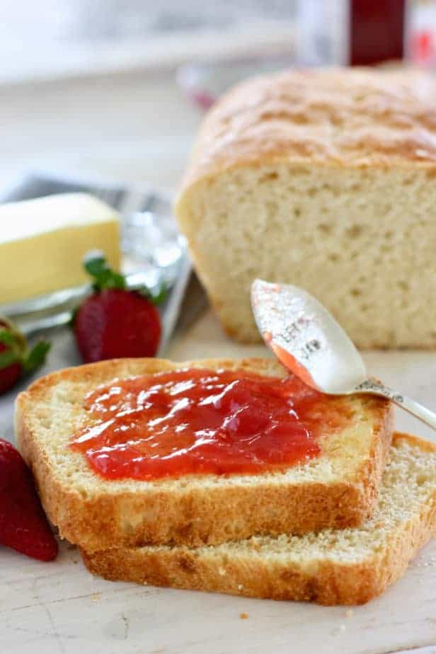 strawberry jam on fresh bread