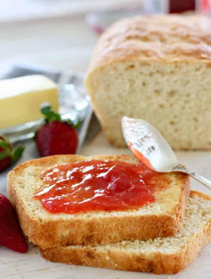 strawberry jam on fresh bread