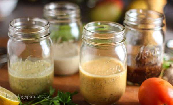 4 Healthy Vinaigrettes in mason jars