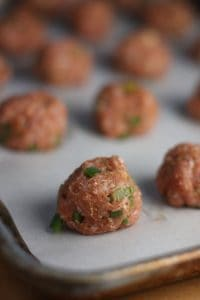 Southwest Turkey Meatballs on a sheet ban ready to bake