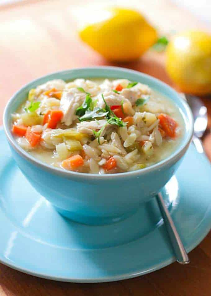 Lemon Orzo Soup served in a beautiful bowl