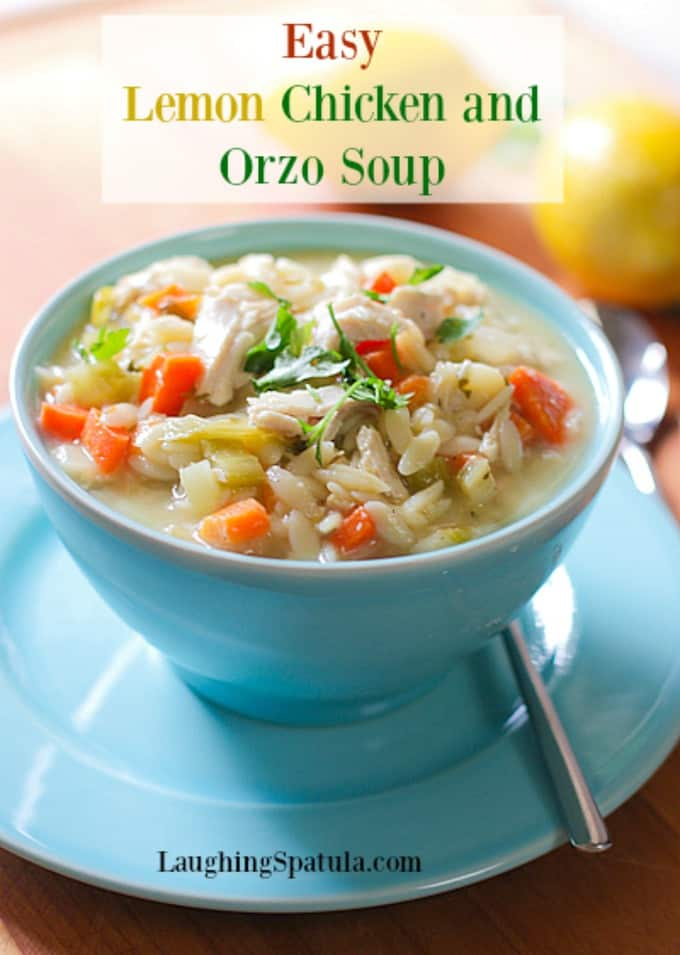 We love this quick and easy Lemon Chicken Orzo Soup in winter or summer! It is super easy to make with left over chicken or just buy a rotisserie chicken #chickensoup #easychickensoup #orzo #rotisseriechickenrecipes