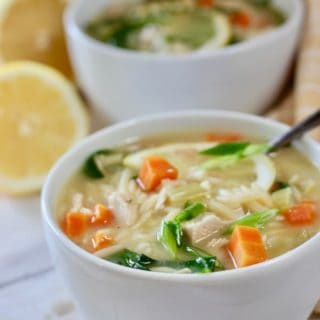 two bowls of lemon orzo soup