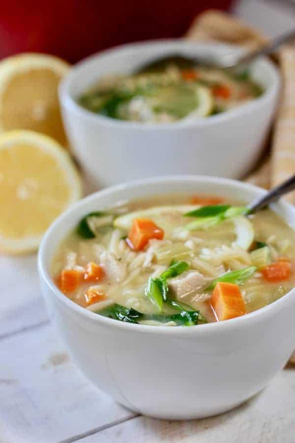 two bowls of lemon orzo soup