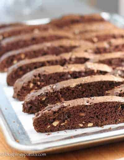Baked Chocolate Biscotti, slice and displayed on a sheet pan