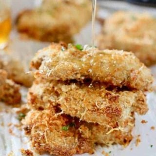 Butter-Dijon-Parmesan Crusted Oven Fried Chicken Thighs