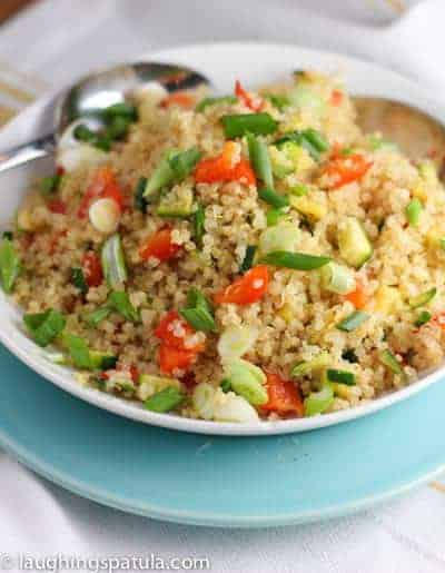 Quinoa Pilaf with veggies in a pretty bowl