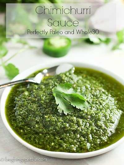 This easy to make Chimichurri Sauce will quickly become your new favorite condiment! We use it on beef, chicken and fish to really kick up the flavor! #chimichurri #whole30 #paleo #healthycondiment