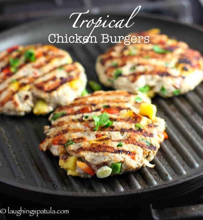 Tropical-Chicken Burgers on a grill pan