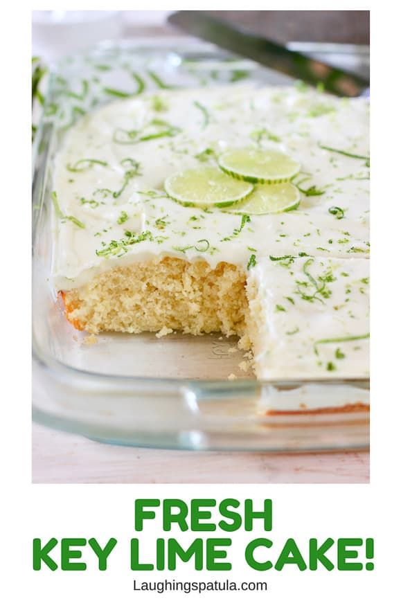 key lime cake in a glass baking dish