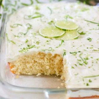 Key Lime Cake frosted and in a 9 x 13 pan