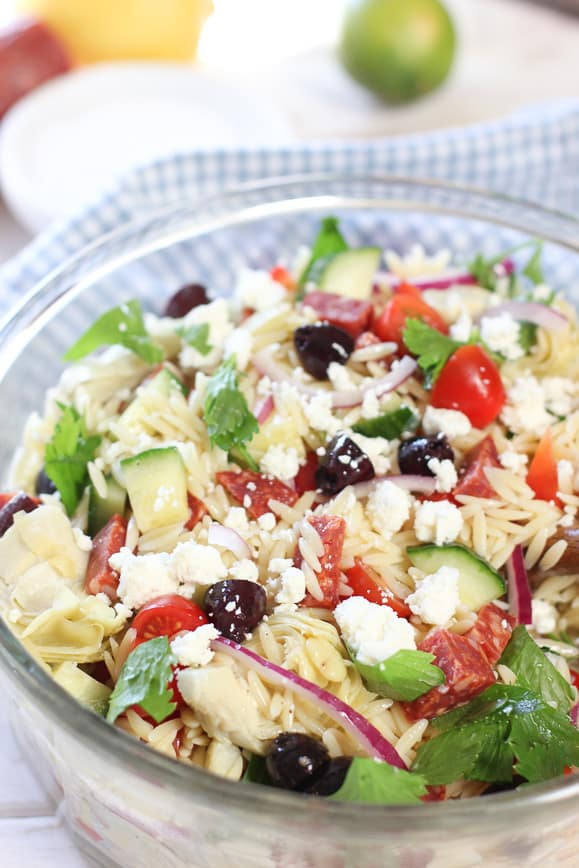 Orzo salad tossed with vinaigrette