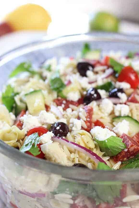 Mediterranean Salad in a clear large bowl
