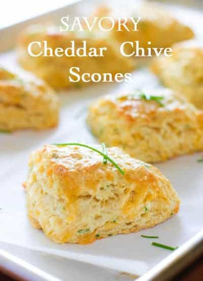 Savory Cheddar and Chive Scones on a sheet pan