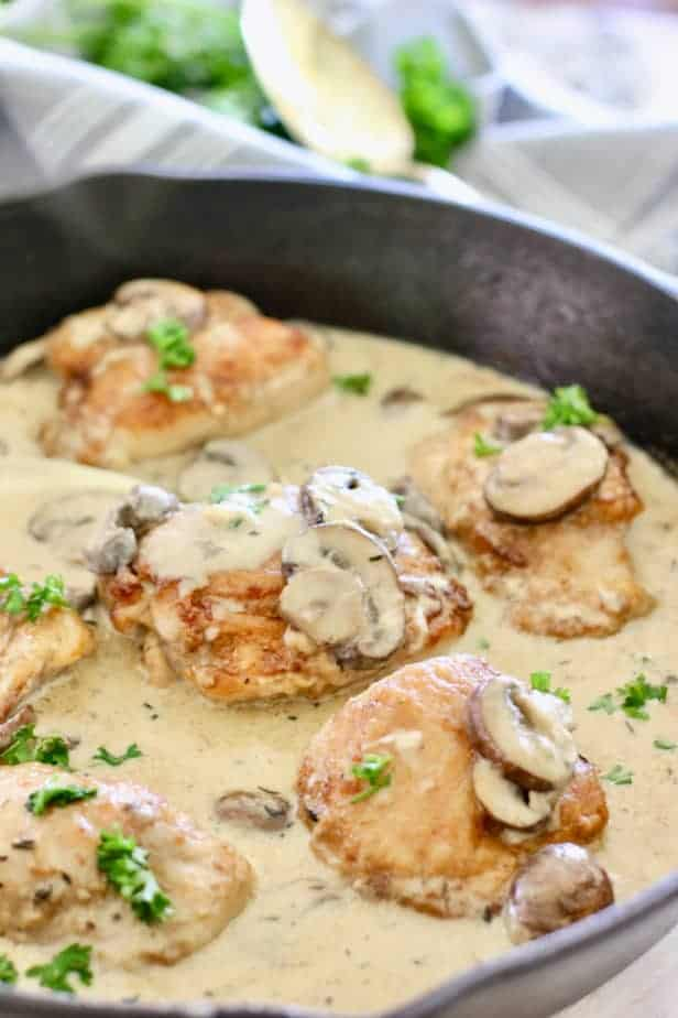 Chicken and Mushroom Gravy in a cast iron skillet