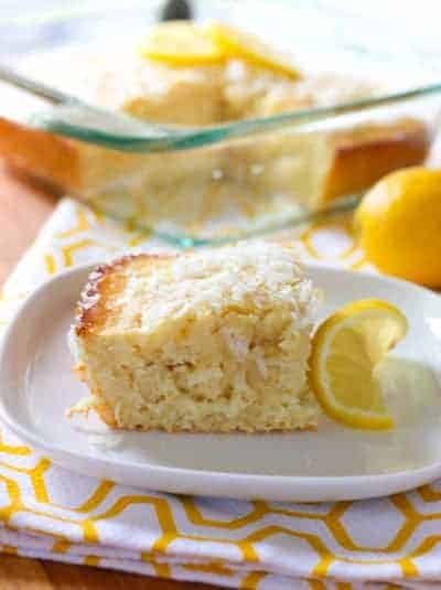 Lemon Coconut Cake on a white plate