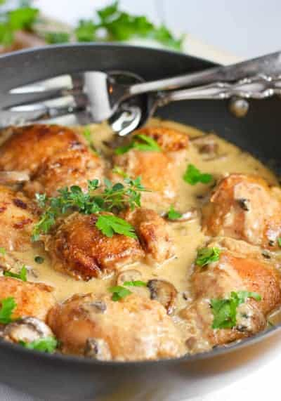 Chicken and Mushrooms in cream sauce