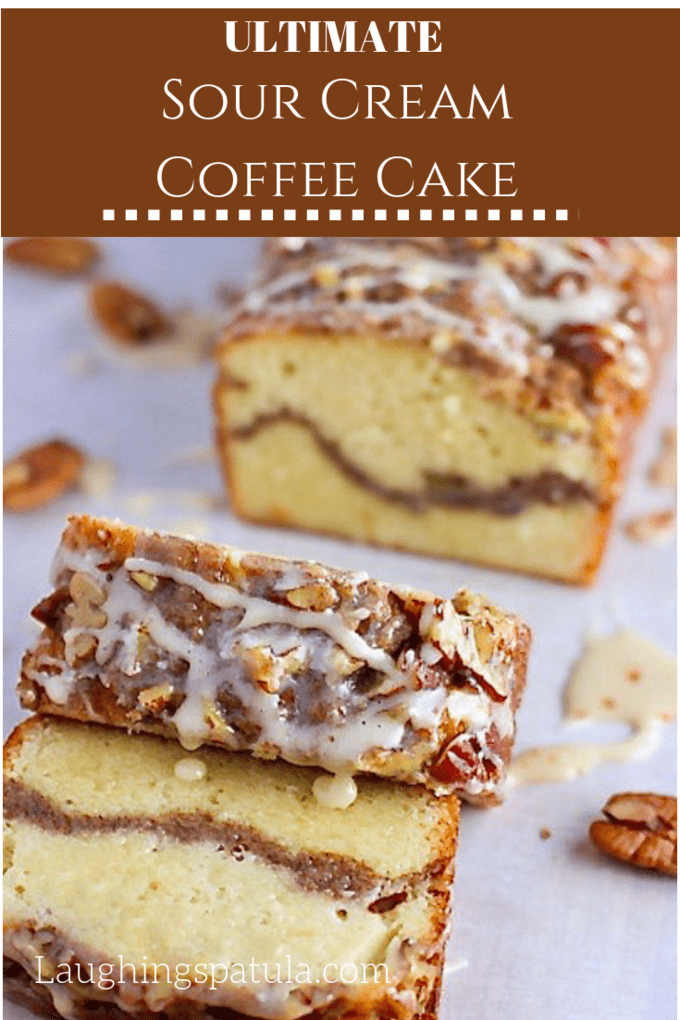 This delicious Sour Cream Coffee Cake looks so impressive but is incredibly easy to make! Topped with tons of streusel and drizzled with icing!  #coffeecake #holidaydessert #cake #cinnamoncake