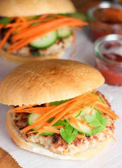 Thai Chicken Burger with cucumbers and carrots
