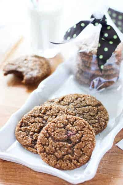Molasses Cookies on a white plate and ready to share