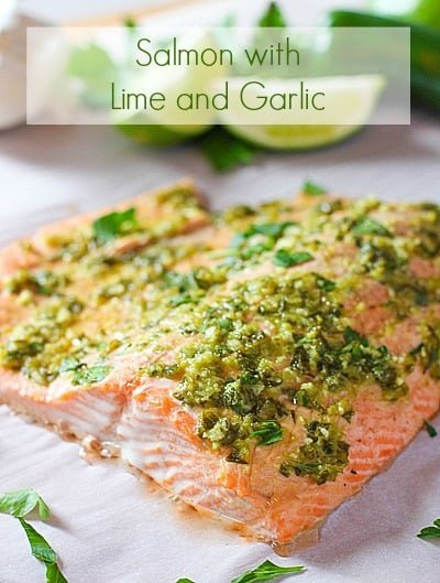 Lime and Garlic Salmon cooked and ready to eat